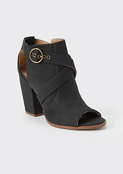 Black Open Toe Buckled Ankle Booties