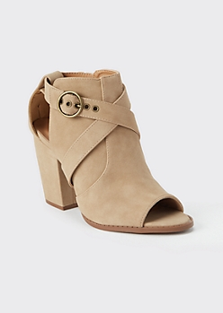 Taupe Open Toe Buckled Ankle Booties