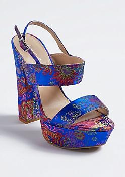 Blue Floral Strappy Platform Heels
