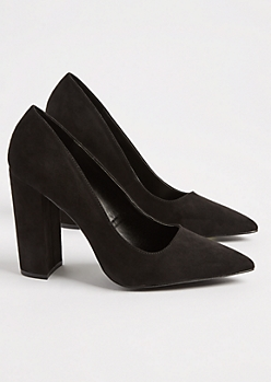 Black Faux Suede Block Heels