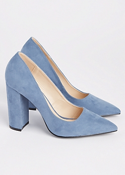 Blue Faux Suede Block Heels