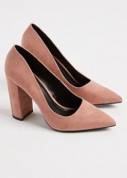 Pink Faux Suede Block Heels