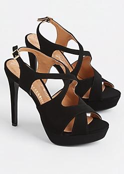 Black Faux Suede Slingback Stiletto Heels