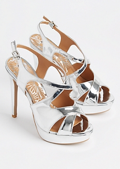 Silver Slingback Stiletto Heels