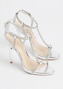 Silver Metallic T Strap Stiletto Heels