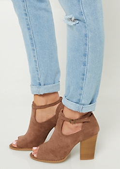 Brown Peep Toe Block Heel Booties