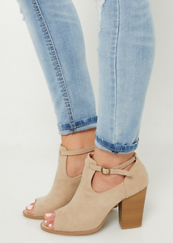 Sand Peep Toe Block Heel Booties