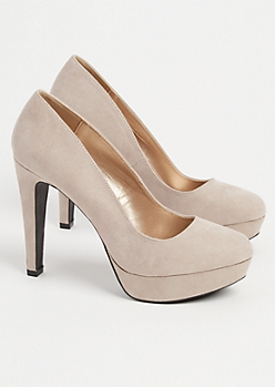 Taupe Faux Suede Pumps