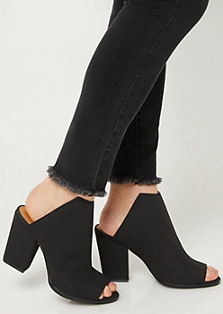 Black Peep Toe Mules