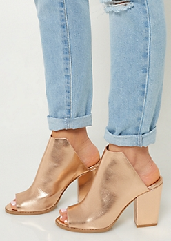 Rose Gold Peep Toe Mules