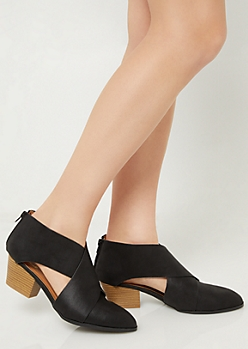 Black Crossing Strap Cutout Booties