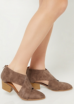 Brown Crossing Strap Cutout Booties