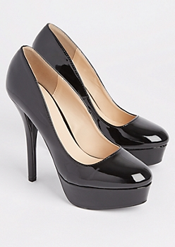 Black Faux Suede Platform Stiletto Heels