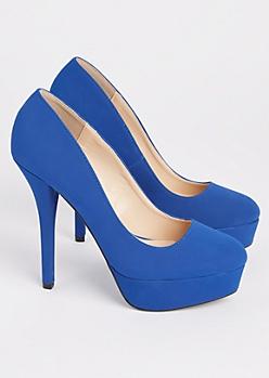 Blue Faux Suede Platform Stiletto Heels