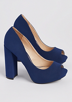 Blue Peep Toe Block Heels