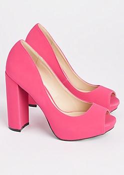 Fuchsia Peep Toe Block Heels