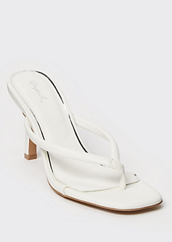 White Thong Square Toe Pumps