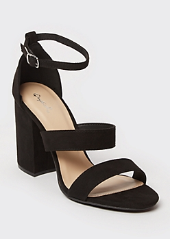 Black Block Heel Strappy Pumps