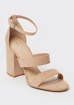 Taupe Block Heel Strappy Pumps