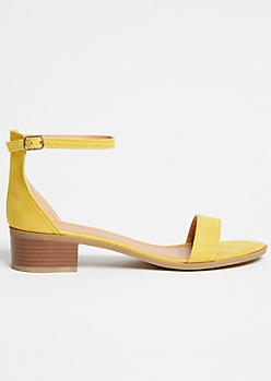 Yellow Faux Suede Low Buckled Heels