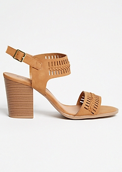 Cognac Whipstitch Buckled Heels