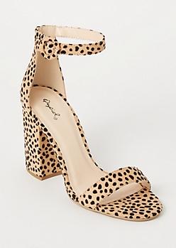 Cheetah Print Ankle Strap Heels