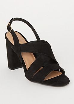 Black Crisscross Ankle Strap Heels