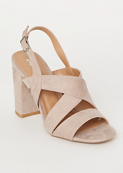Taupe Crisscross Ankle Strap Heels