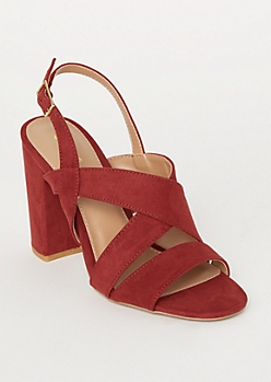 Red Crisscross Ankle Strap Heels