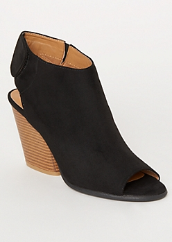 Black Wrap Around Sling Back Heels