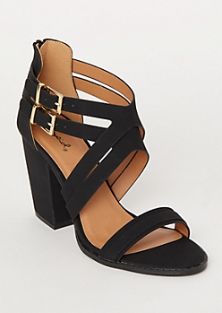 Black Crisscross Double Buckle Heels