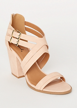 Pink Crisscross Double Buckle Heels