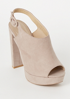 Taupe Peep Toe Slingback Platform Heels