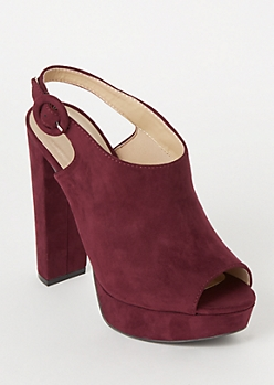 Burgundy Peep Toe Slingback Platform Heels