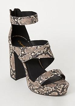 Snakeskin Print Strappy Platform Heels
