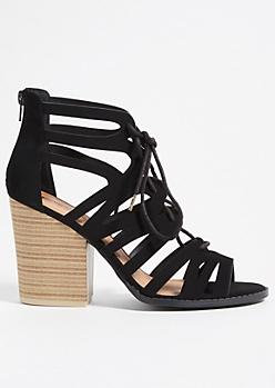 Black Geometric Caged Lace Up Block Heels