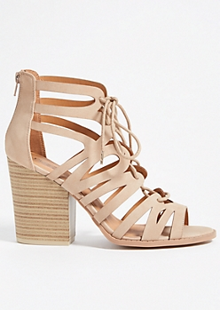Tan Geometric Caged Lace Up Block Heels