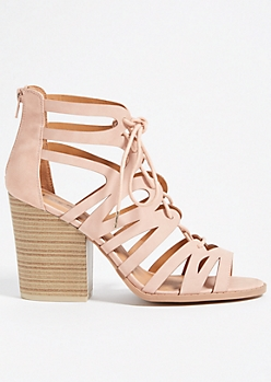 Light Pink Geometric Caged Lace Up Block Heels