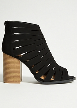 Black Caged Faux Suede Heels