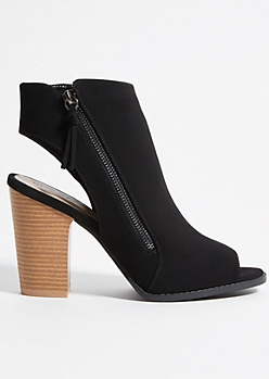 Black Faux Leather Open Toe Block Heels