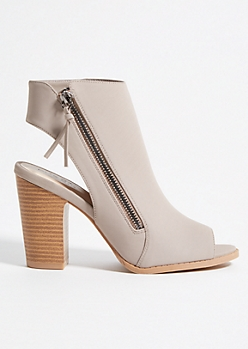 Taupe Faux Leather Open Toe Block Heels