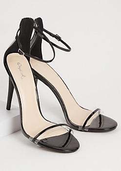 Black Clear Open Toe Strappy Stiletto Heels