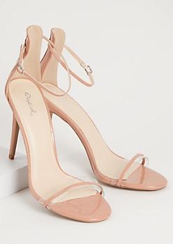 Pink Clear Open Toe Strappy Stiletto Heels