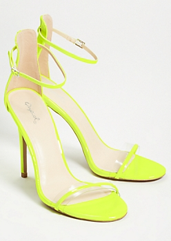 Neon Yellow Clear Open Toe Strappy Stiletto Heels