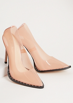 Light Pink Clear Studded Stiletto Heels