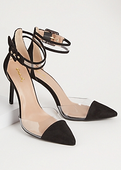 Black Faux Suede Buckled Clear Strap Stiletto Heels