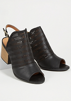 Black Peep Toe Perforated Slingback Stacked Heels