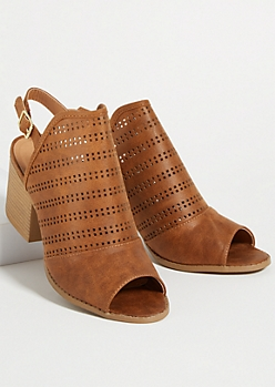 Cognac Peep Toe Perforated Slingback Stacked Heels