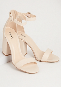 Nude Faux Leather Strap Open Toe Heels