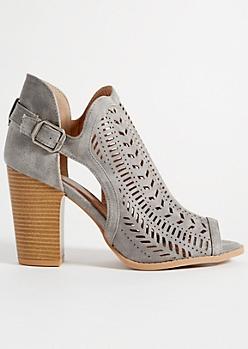 Slate Gray Perforated Peep Toe Heels